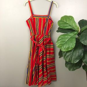 VINTAGE Red Striped Tie Retro Fit Flare Dress L